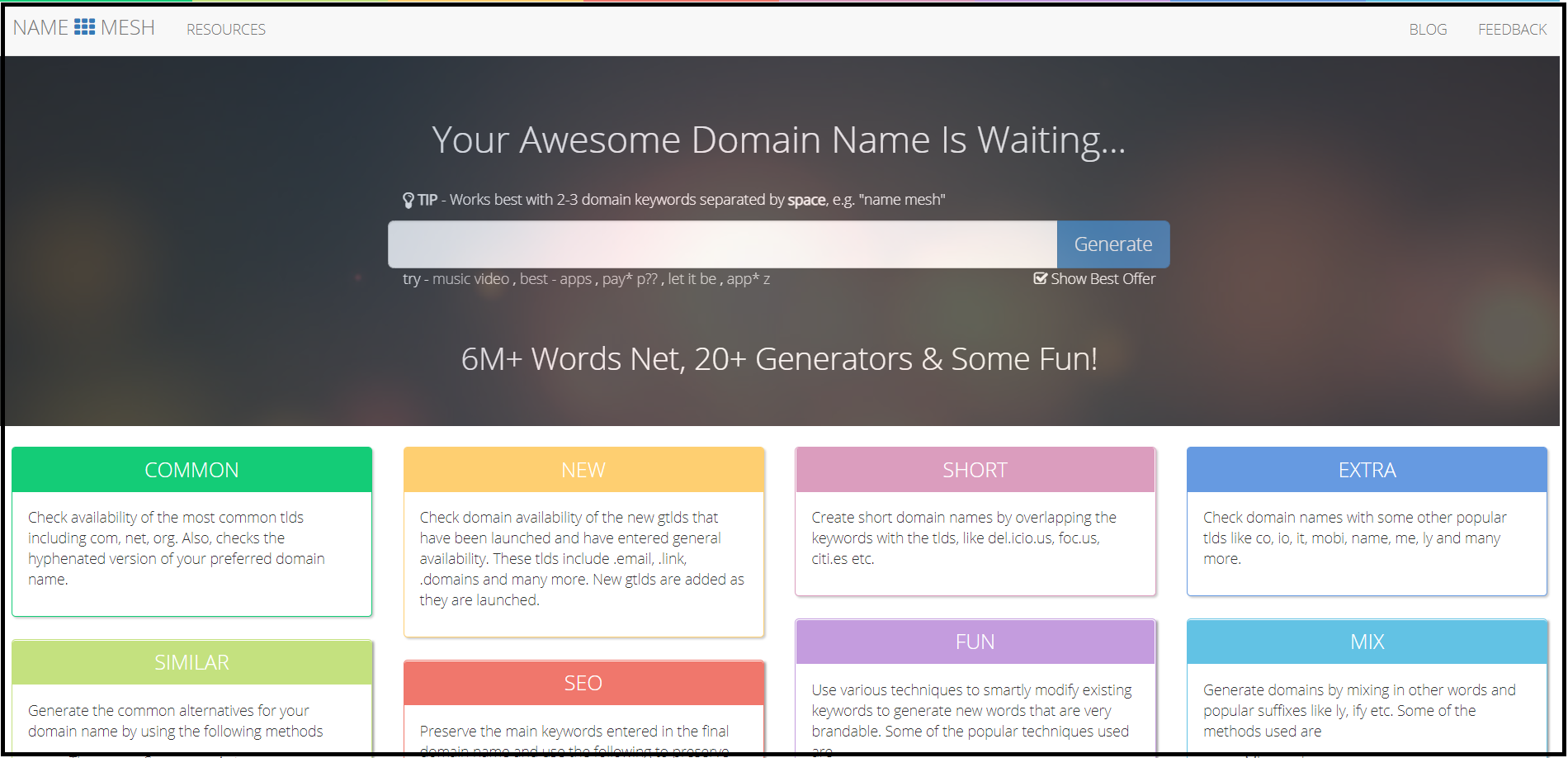 catchy names for websites