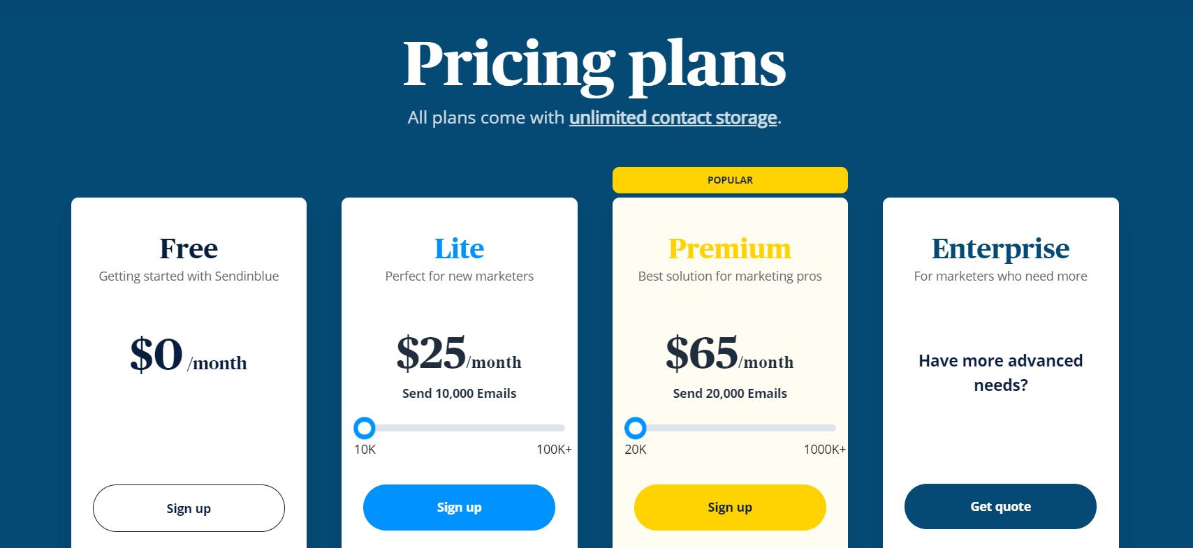 sendinblu pricing